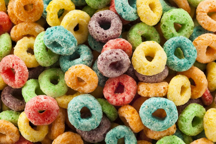 Coloful Fruit Cereal Loops in a Bowl